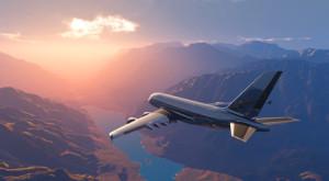 The passenger plane on a background an  landscape